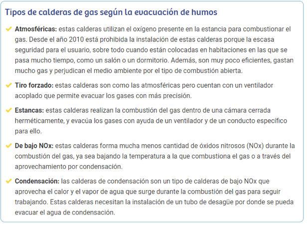 Tipos de caldera de gas